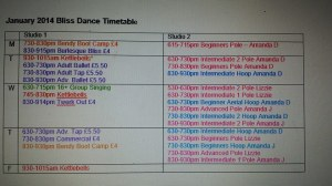 Bliss Dance Timetable