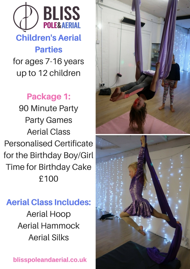 Children's Aerial Partiesfor ages 7-16 yearsPackage 1_1 Hour PartyGamesAerial Classup to 12 ChildrenVenue HirePhoto oppotunitesPersonalised Certificate for the Birthday BoyGirl£80Pac